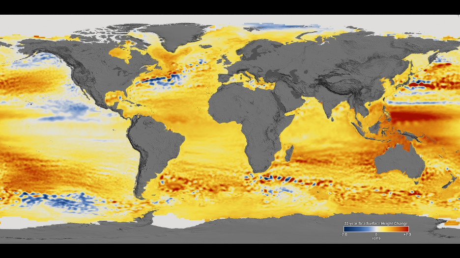 Total sea level change between 1992 and 2014, based on data collected from the U.S./European Topex/Poseidon, Jason-1, and Jason-2 satellites.
