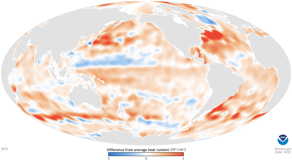 Ocean heat content in 2018 compared to the 1955-2006 average.