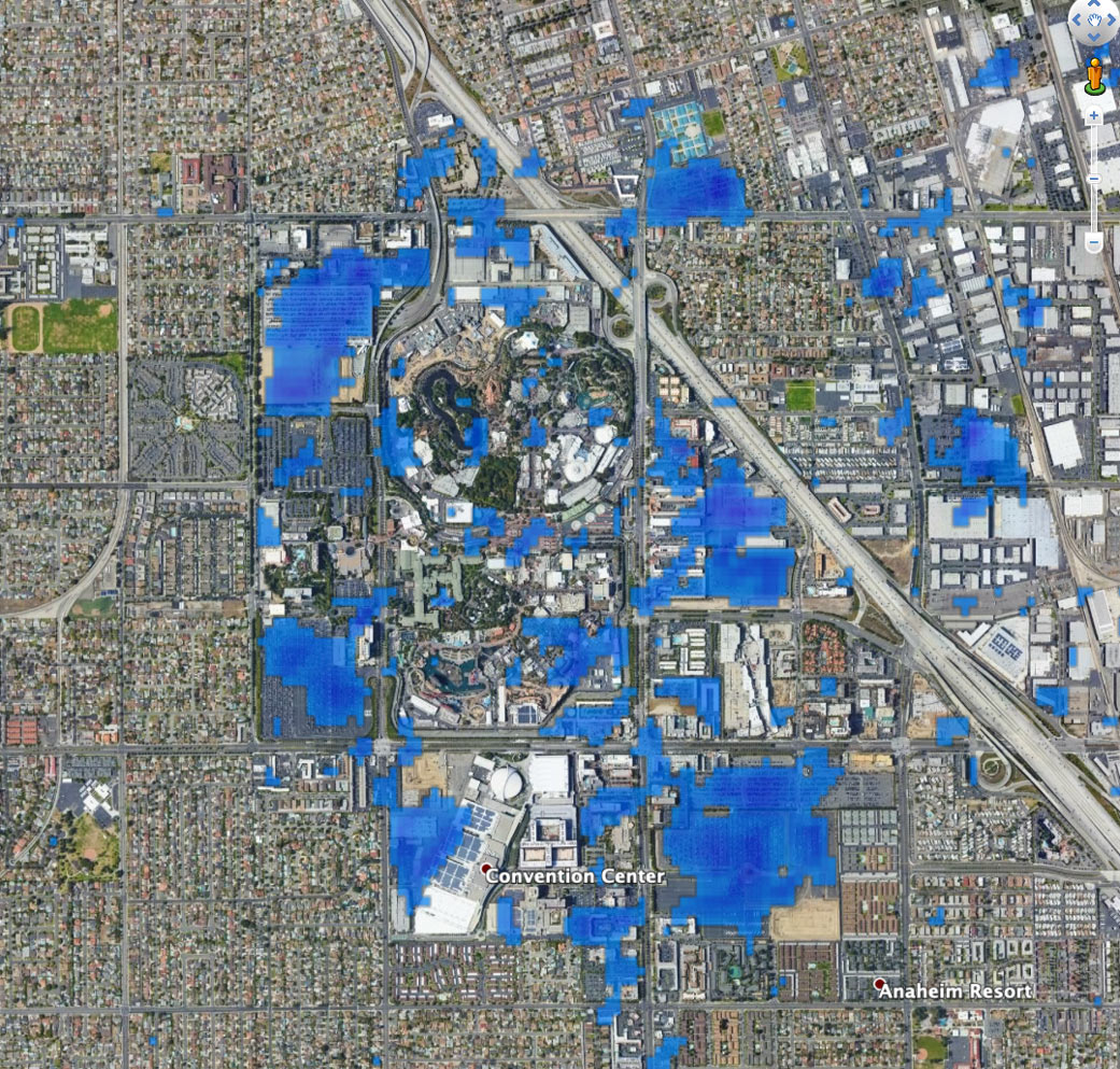 This preliminary map shows the slowdown of activity at Disneyland in California.