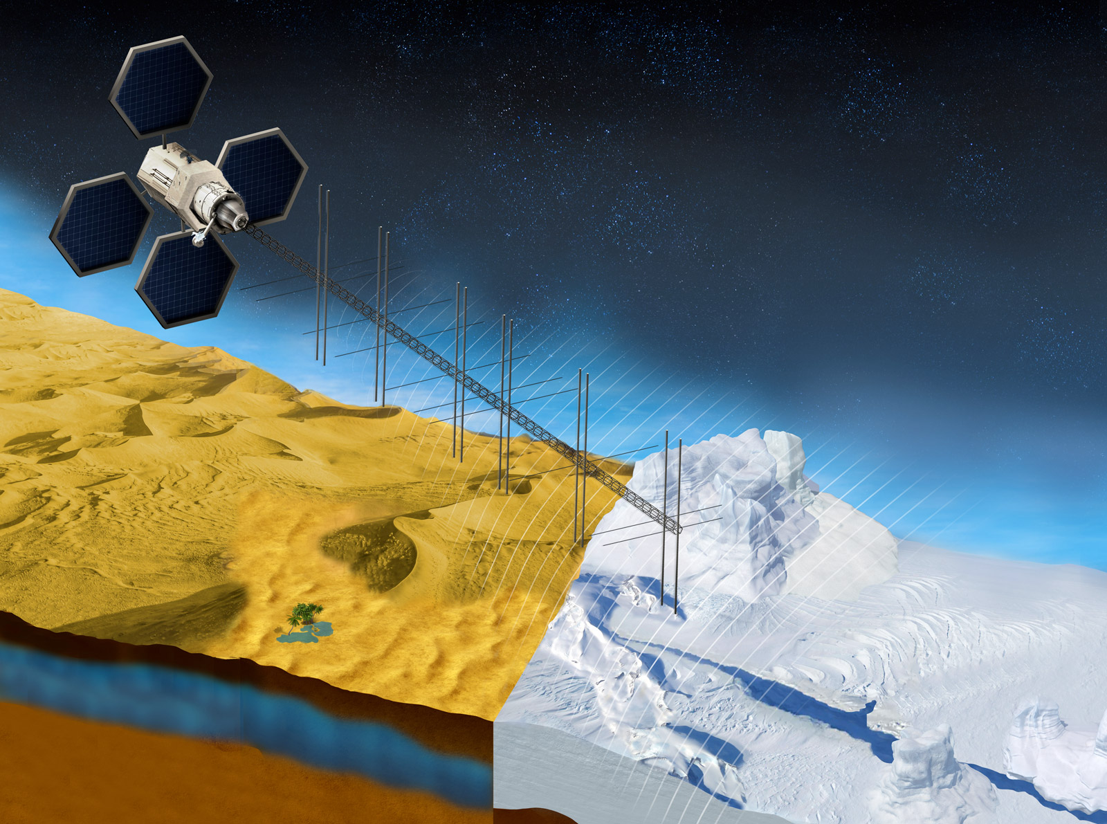 This illustration shows what a satellite with a proposed radar instrument for the mission could look like.