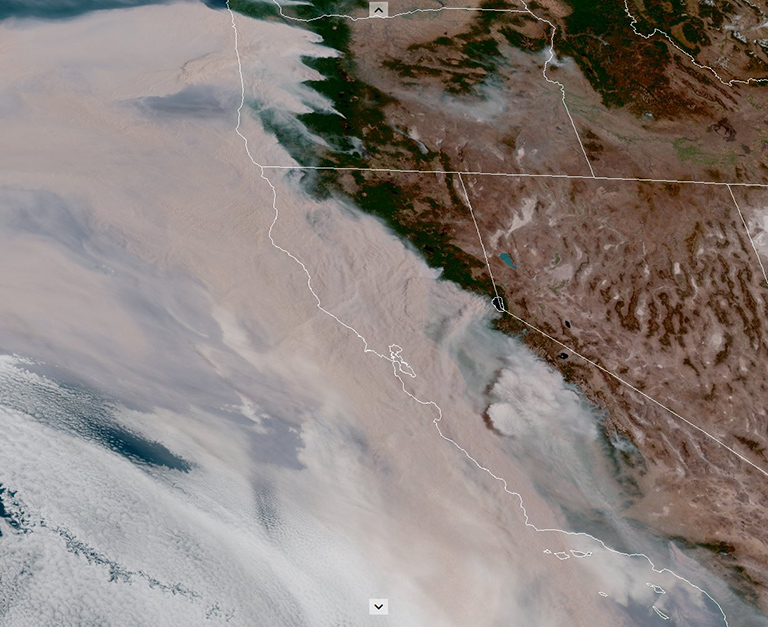 Smoke from numerous wildfires obscures much of California and Oregon.
