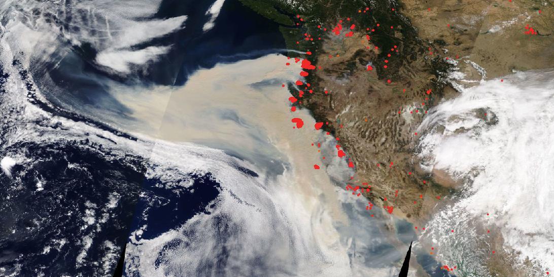 True (natural) color image of western U.S. wildfires on September 10, 2020