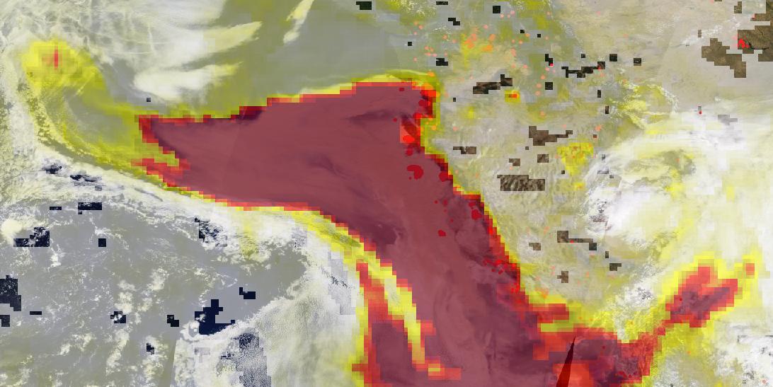 False (infrared) color image of western U.S. wildfires on September 10, 2020