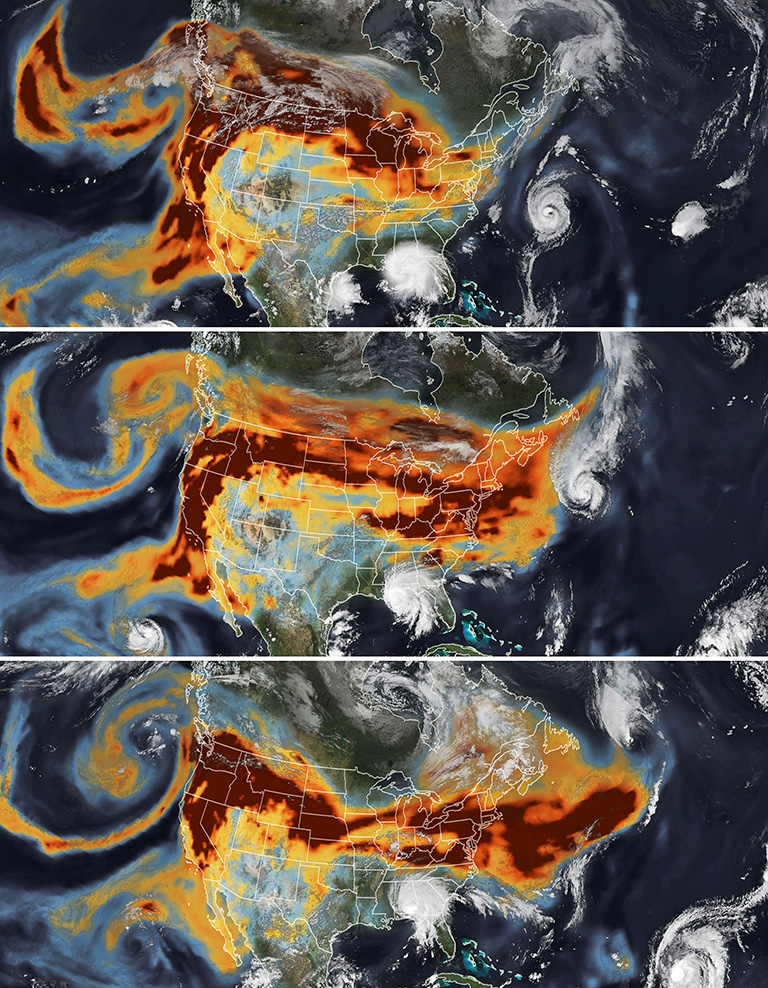 A series of images above shows the abundance and distribution of black carbon, a type of aerosol found in wildfire smoke, as it rode jet stream winds across the United States
