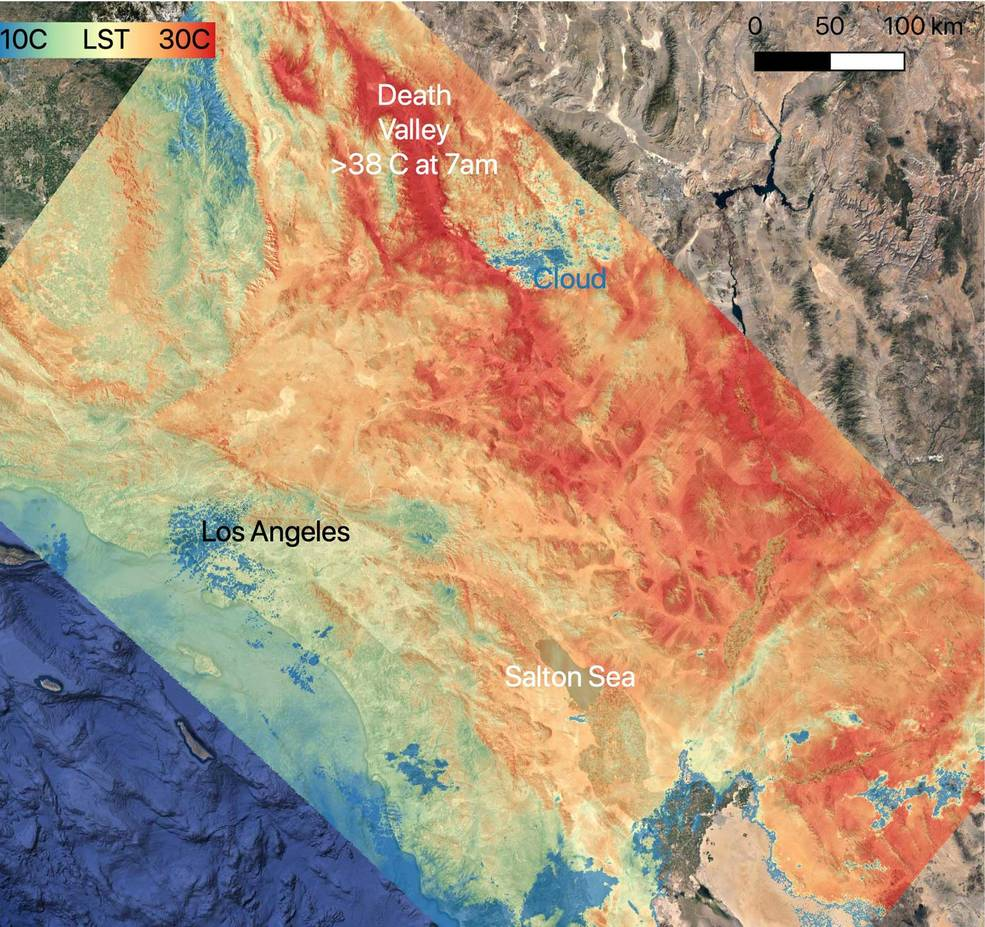 On July 8, 2021, NASA's ECOSTRESS instrument, aboard the space station captured ground surface temperature data over California. Areas in red – including Death Valley – had surpassed 86 degrees Fahrenheit by 7 a.m. local time, well above average ground surface temperatures for the area. Credit: NASA/JPL-Caltech