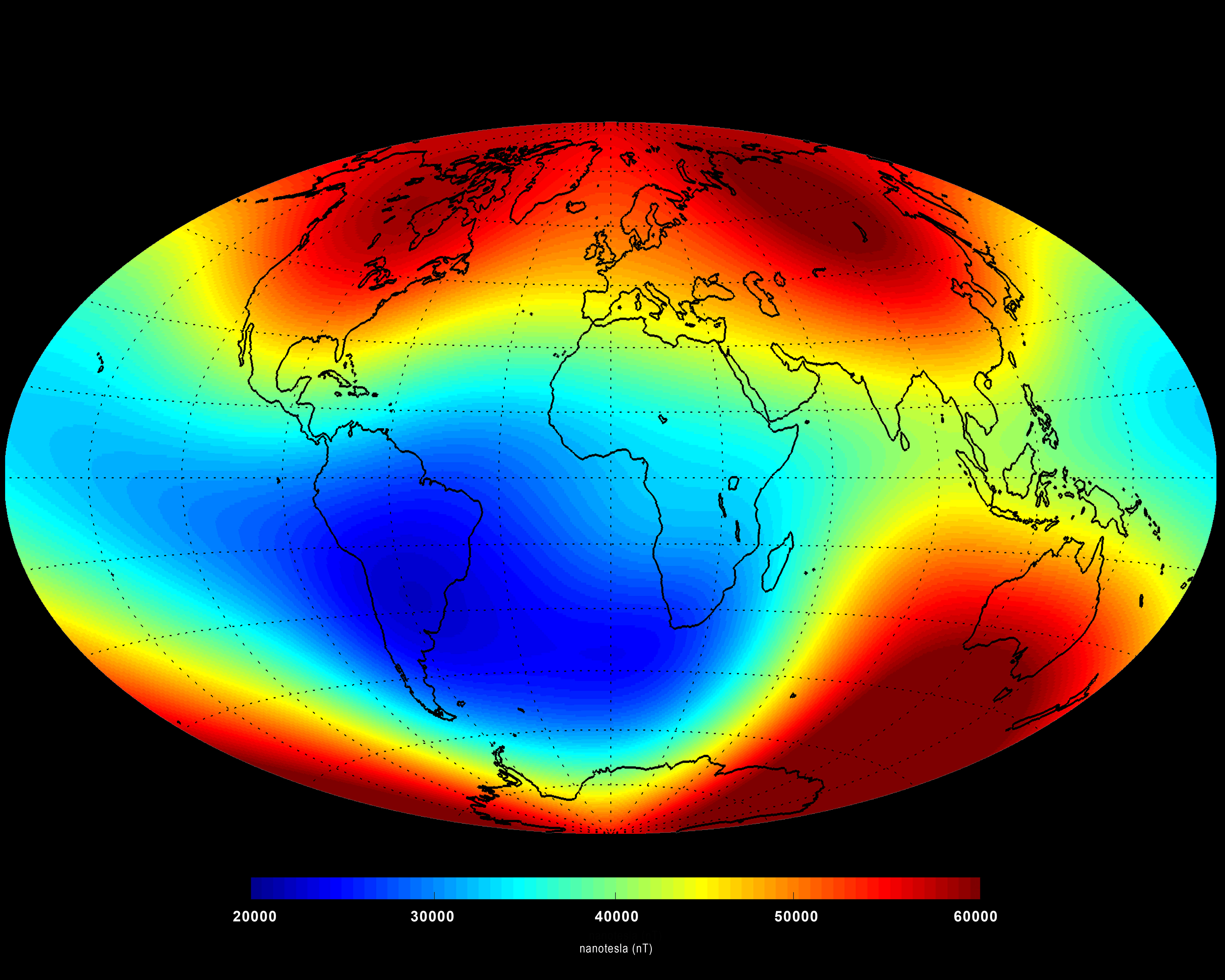 Image of the average strength of Earth's magnetic field at the surface (measured in nanotesla) between January 1 and June 30, 2014