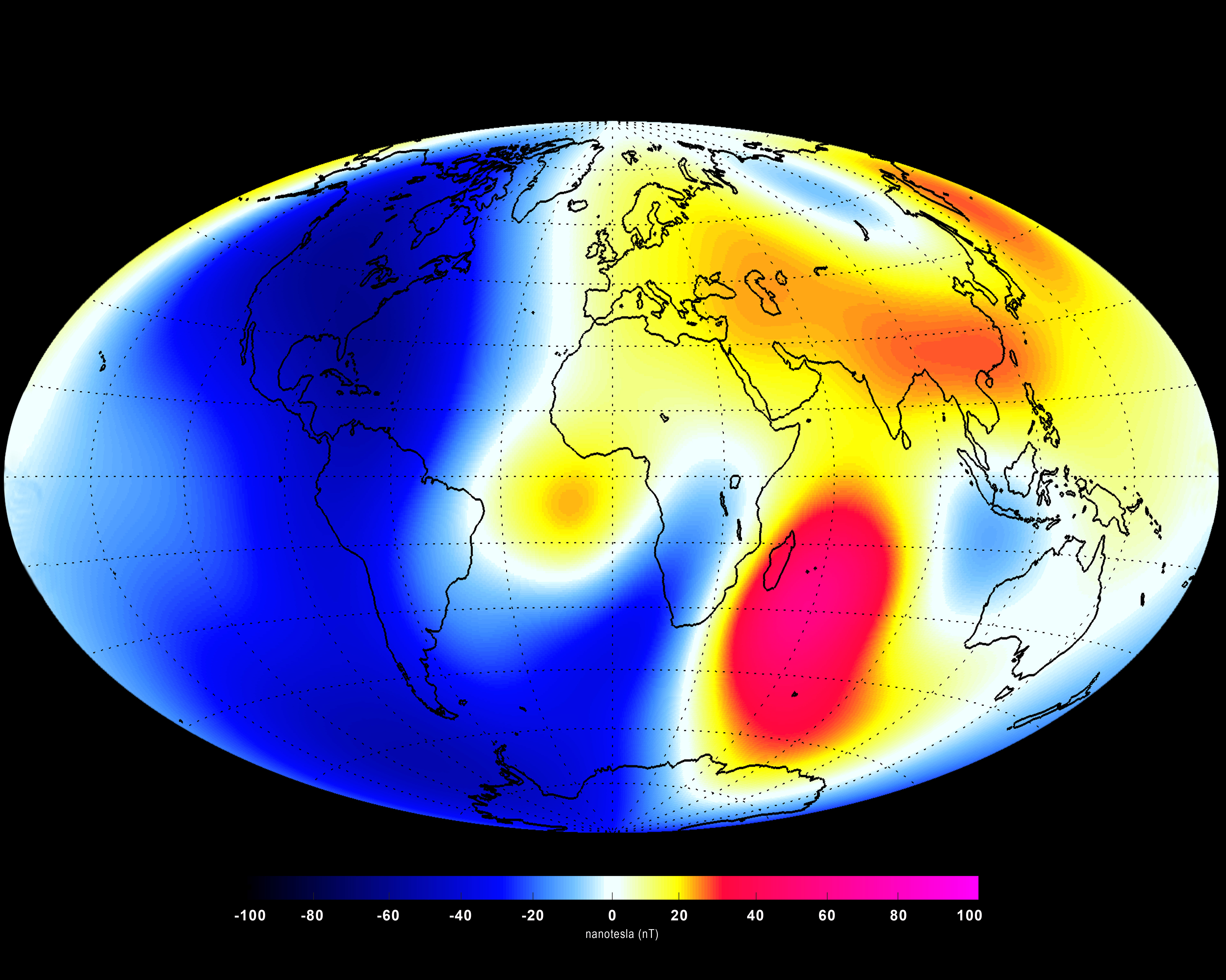Image showing changes in Earth's magnetic field between January 1 and June 20, 2014