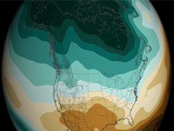 These NASA visualizations show model projections of the precipitation changes from 2000 to 2100 as a percentage difference between the 30-year precipitation averages and the 1970-1999 average.