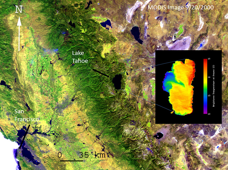 Several large lakes are seen in this image of the California/Nevada border region Lake Tahoe on the California/Nevada border Global changes in lake temperatures over the past 25 years. Several large lakes are seen in this image of the California/Nevada border region acquired by the MODIS instrument on NASA's Terra spacecraft. The inset image of Lake Tahoe, from the ASTER instrument on Terra, shows the lake's temperature variations (cold is blue, warm is red). Credit: NASA.