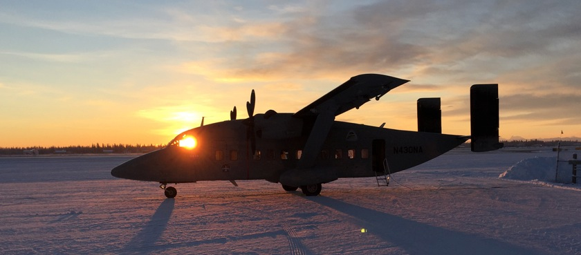 The NASA C-23 Sherpa aircraft used in the CARVE field program, loading at dawn for one of the final flights. Credit: NASA/JPL-Caltech.