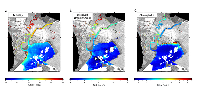 Maps of a) turbidity (water clarity), b) dissolved organic carbon and c) chlorophyll-a The USGS R/V Mary Landsteiner shown at a brief stop during a study in the Northern San Francisco estuary. Maps of a) turbidity (water clarity), b) dissolved organic carbon and c) chlorophyll-a in the San Francisco Bay-Delta Estuary's Grizzly Bay and Suisun Marsh in April 2014, derived from remote-sensing reflectance data from NASA's airborne Portable Remote Imaging Spectrometer (PRISM) instrument. Image credit: NASA/JPL-Caltech.
