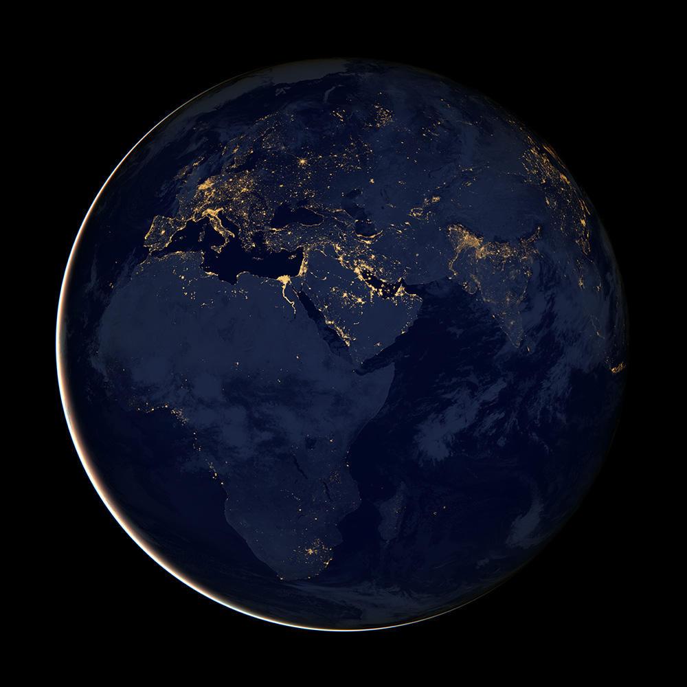 As this NASA image shows, lack of electricity keeps much of Africa and Asia in the dark at night.