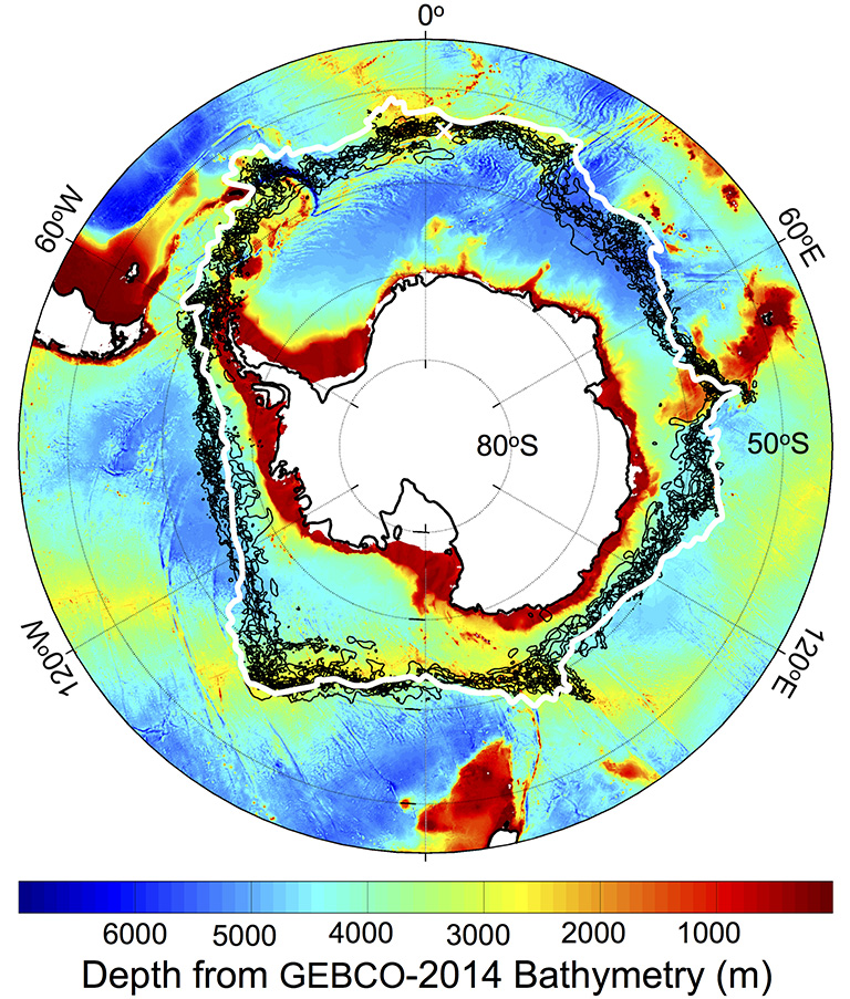 Location of the southern Antarctic Circumpolar Current front (white contour), with -1 degree Celsius sea surface temperature lines (black contours) on Sept. 22 each year from 2002-2009, plotted against a chart of the depth of the Southern Ocean around Antarctica. The white cross is Bouvet Island. Credit: NASA/JPL-Caltech.