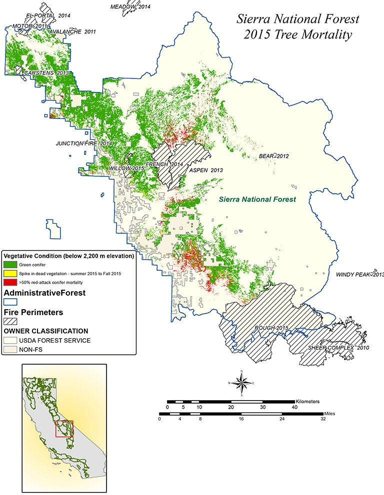 National Forests In California Map.Nasa Maps California Drought Effects On Sierra Trees Climate