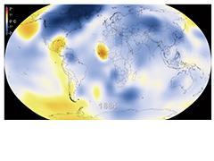 A visualization of global temperature changes since 1880 based on NASA GISS data.