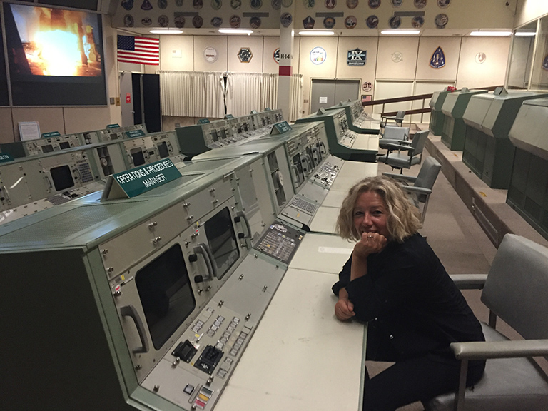 Inside the fully preserved Apollo-era Mission Control at Johnson Space Center.