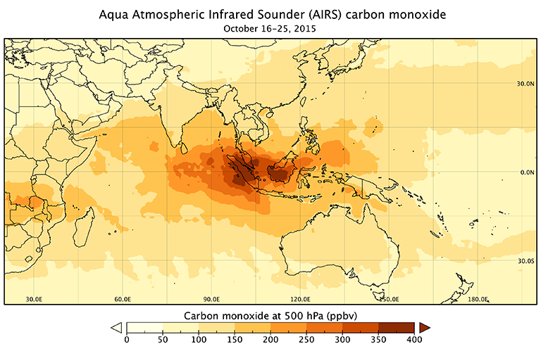 A closer view of carbon monoxide concentration over Indonesia, from October 16 to 25, 2015.