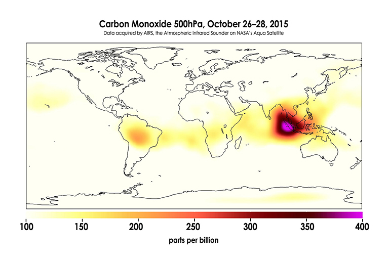 The global concentration of carbon monoxide at approximately 18,000 feet (5,500 meters) altitude.