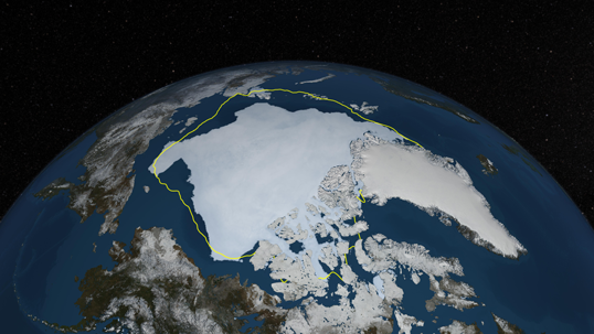 This image shows a visualization of Arctic sea ice cover on Sept. 12, 2013, with a yellow line showing the 30-year average minimum extent. A new study shows that the magnitude of surface darkening in the Arctic (due to the retreat of sea ice) is twice as large as that found in previous studies. Image Credit: NASA Goddard's Scientific Visualization Studio/Cindy Starr