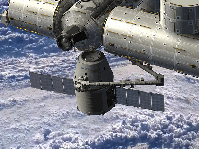An artist's rendering of a SpaceX Dragon spacecraft being berthed to the International Space Station. RapidScat will be carried by the SpaceX CRS-4 Dragon to the International Space Station in spring 2014. Credit: NASA.