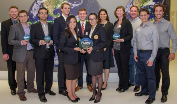 Winners of the 2014 First Look West competition at Caltech. From left to right, they are David Eichhorn and Aliaksandr Zaretski of GrollTex; Mohammad Ghazvini of MuTherm; Bobby Jacobs, Susan Tran, Casey McNeil and Cassandra Hoang of REEcycle; Meera Atreya, Jill Fuss, Steven Yannone, Kareem El Muslemany and Matt Penfold of CinderBio.