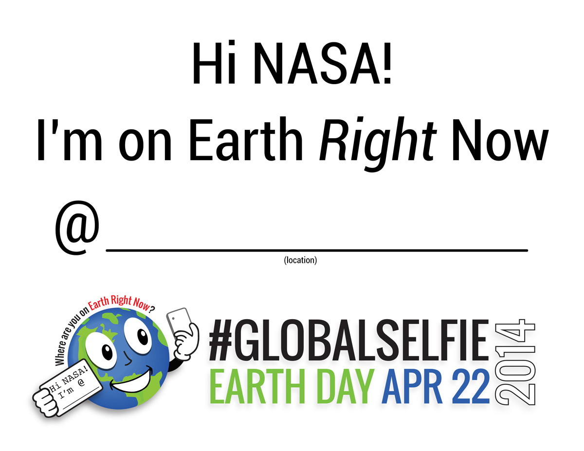 Click the #GlobalSelfie sign for download.