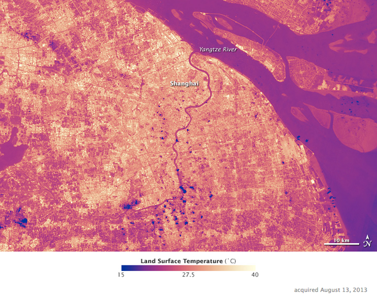 """Urban heat island"" effect in Shanghai"