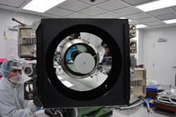 The Cloud-Aerosol Transport System (CATS) instrument shown here uses three-wavelength lasers to extend satellite observations of small particles in the atmosphere. CATS is scheduled to launch in September on a SpaceX ISS commercial resupply flight. Image Credit: NASA