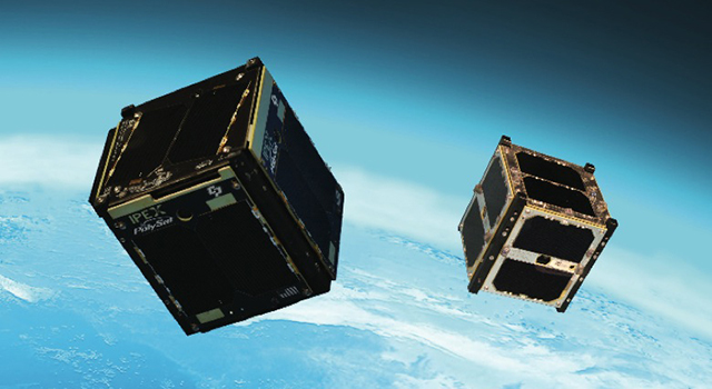"Artist's concept of the Intelligent Payload Experiment (IPEX) and M-Cubed/COVE-2, two NASA Earth-orbiting cube satellites (""CubeSats"") that were launched as part of the NROL-39 GEMSat mission from California's Vandenberg Air Force Base on Dec. 5, 2013. CubeSats typically have a volume of exactly 33.814 ounces (1 liter).Image credit: NASA/JPL-Caltech"