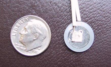 Size comparison of a dime and a single fuel cell