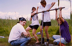 Members of the research team collecting core samples in the HRNERR at Piermont Marsh in Rockland County. Image credit: Dorothy Peteet