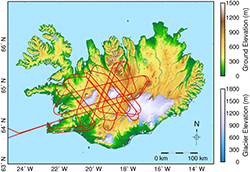 Map of Iceland shows the flight path (red lines) for a single flight to map flow speeds across two ice caps with the UAVSAR instrument. Image Credit: Caltech