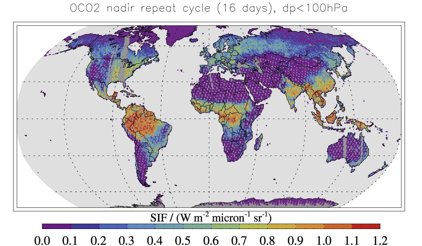 Simulated map showing typical fluorescence data expected from NASA's Orbiting Carbon Observatory-2 satellite. The information will be used to infer details about the health and activity of vegetation on the ground. Credit: NASA/JPL-Caltech/NASA Earth Observatory