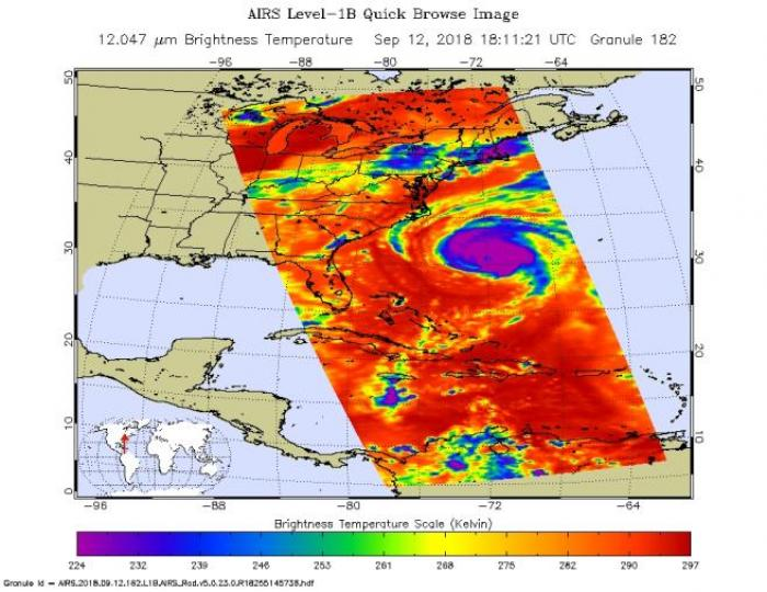 This image, taken at 1:35pm EDT on Tuesday, September 11, 2018, by the Atmospheric Infrared Sounder (AIRS) aboard NASA's Aqua satellite, shows Hurricane Florence, which, at the time, had maximum sustained winds of 140 mph (225 kph).