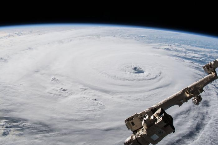An astronaut's photograph of Hurricane Florence as seen from the International Space Station on Sept. 12, 2018, as it was then situated about 600 miles from Southeast U.S. coastline.