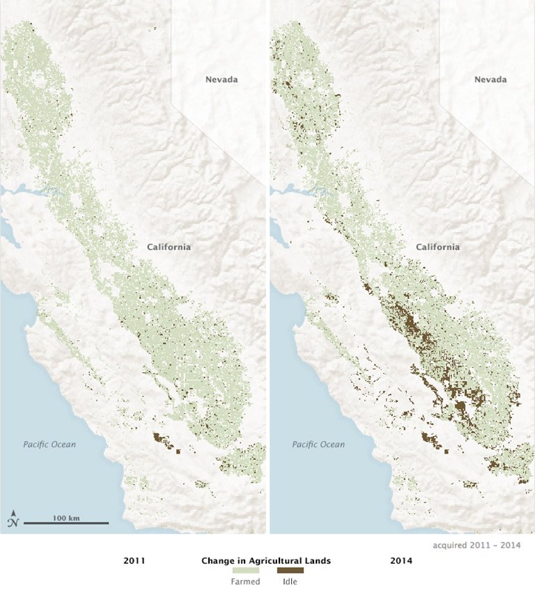 California agricultural change maps