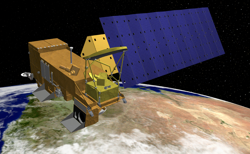 Artist rendering of the Aqua satellite, part of NASA's Earth Observing System. Credit: NASA