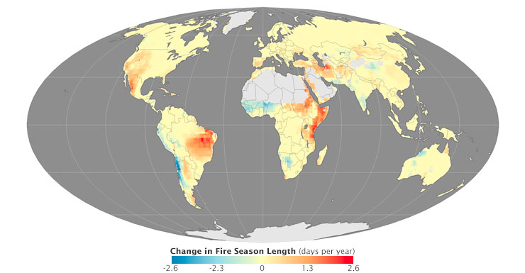 Change in fire season length