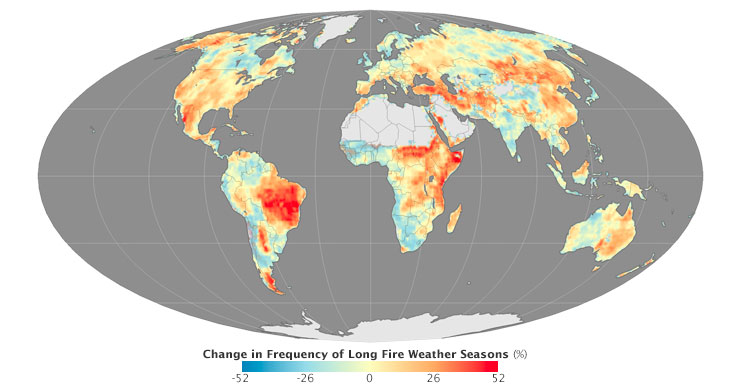 Change in frequency of long fire weather seasons
