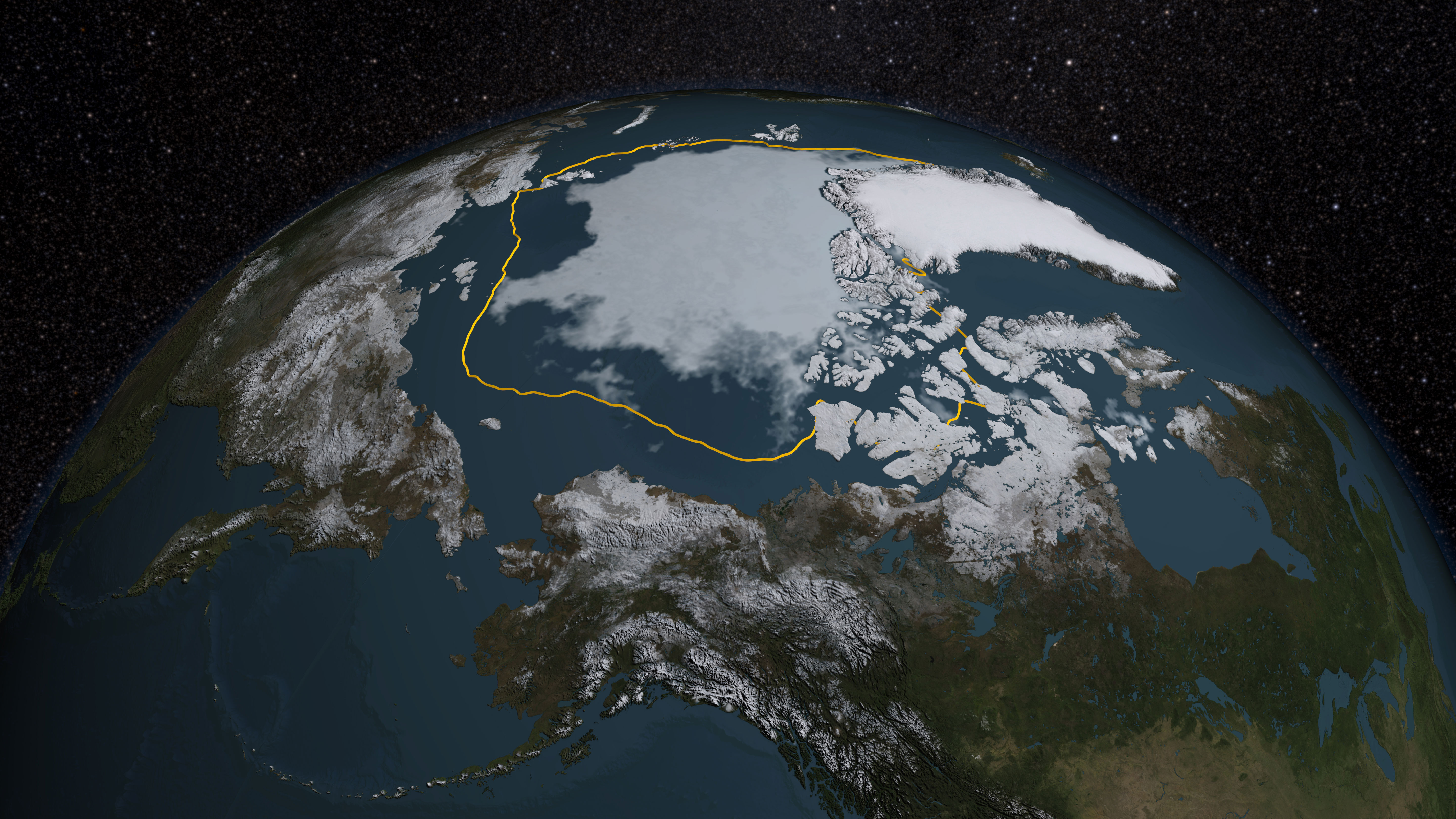 The 2015 Arctic sea ice summertime minimum is 699,000 square miles below the 1981-2010 average, shown here as a gold line. Credit: NASA/Goddard Scientific Visualization Studio