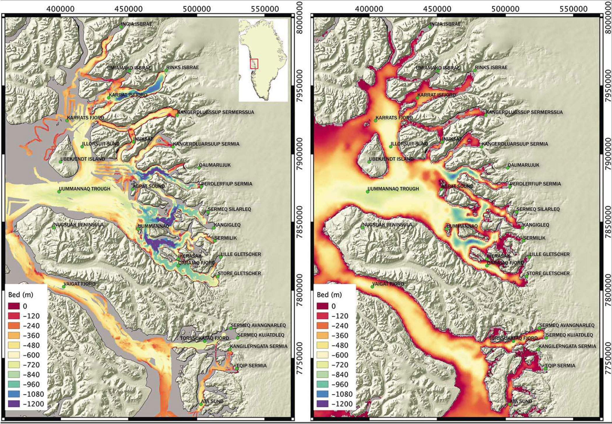 a comparison of the newly compiled map of the uummannaq fjord area left and