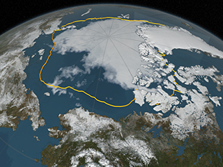 Arctic sea ice annual minimum ties second lowest on record