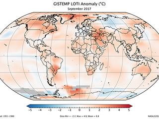 September 2017 was fourth warmest September on record