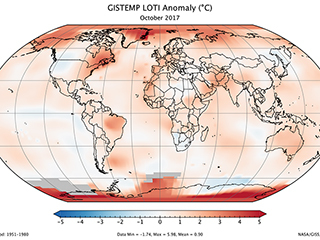 October 2017 was the second warmest October on record