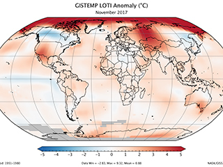 November 2017 was the third warmest November on record