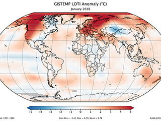 January 2018 was fifth warmest January on record