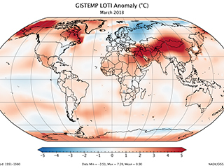 March 2018 was one of six warmest Marches on record