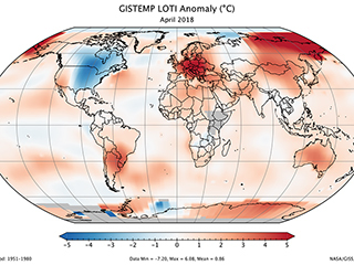 April 2018 was third warmest April on record