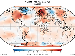 World map showing the areas getting hotter