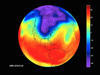 NASA's AIRS captures polar vortex moving in over U.S.
